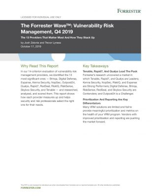 TENABLE IS A LEADER IN THE FORRESTER WAVE™Q4 2019