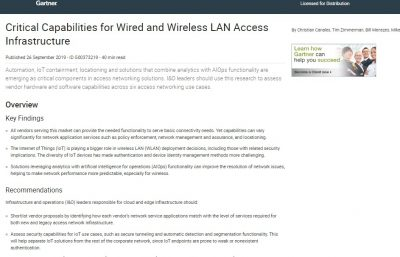 Critical Capabilities for Wired and Wireless LAN Access Infrastructure