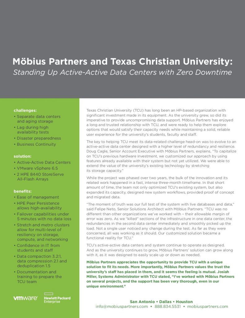 Möbius Partners and Texas Christian University: Standing Up Active-Active Data Centers with Zero Downtime