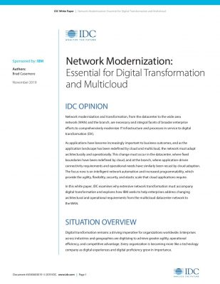 IDC: Network Modernization-Essential for Digital Transformation and Multicloud