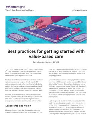 Best practices for getting started with value-based care