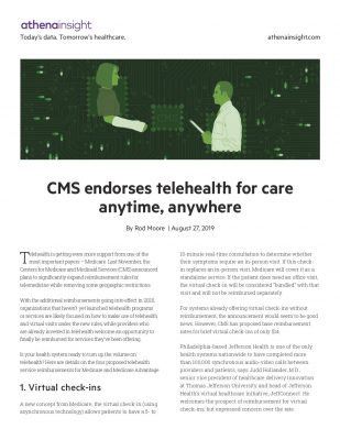 CMS endorses telehealth for care anytime, anywhere