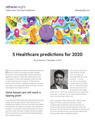 5 healthcare predictions for 2020