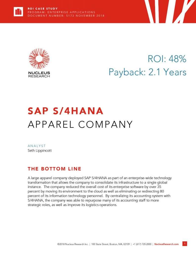 Nucleus Research ROI Case Study: SAP S/4HANA and an Apparel Company