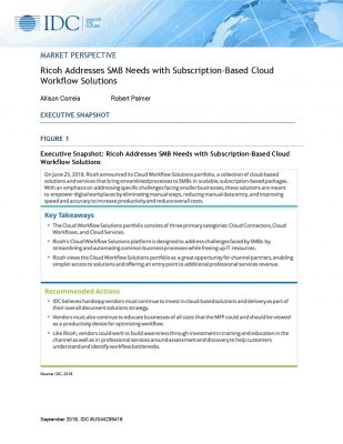 IDC Ricoh Addresses SMB Needs with Subscription-Based Cloud
