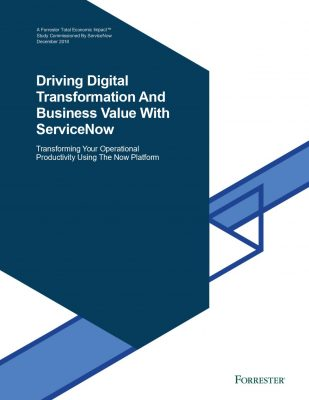 Forrester TEI Driving Digital Transformation And Business Value With ServiceNow