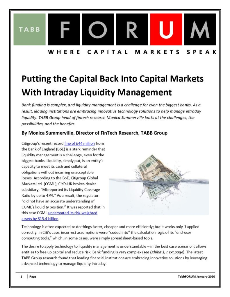 Put the Capital Bank into Capital Markets with Intraday Liquidity Management