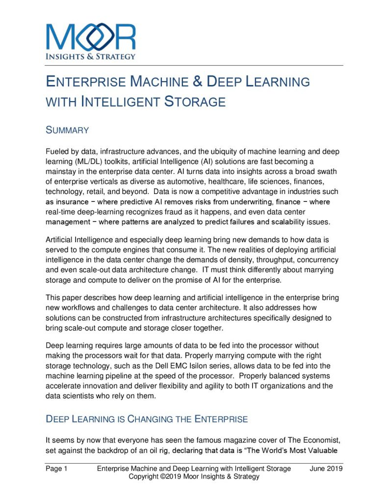 Enterprise Machine  and  Deep Learning with Intelligent Storage