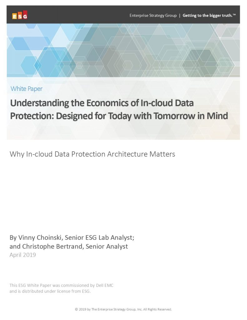 Understanding the Economics of In-cloud Data Protection: Designed for Today with Tomorrow in Mind