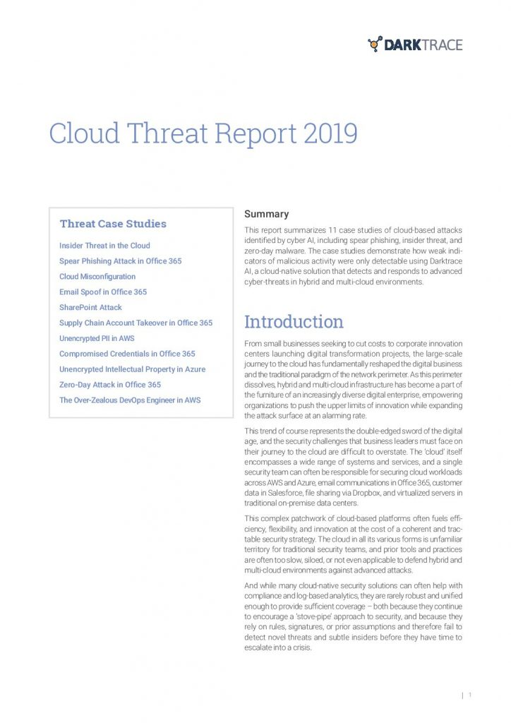Cloud Threat Report 2019