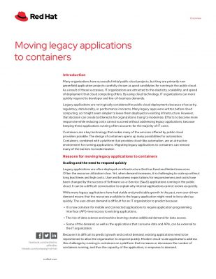 Moving legacy applications to containers