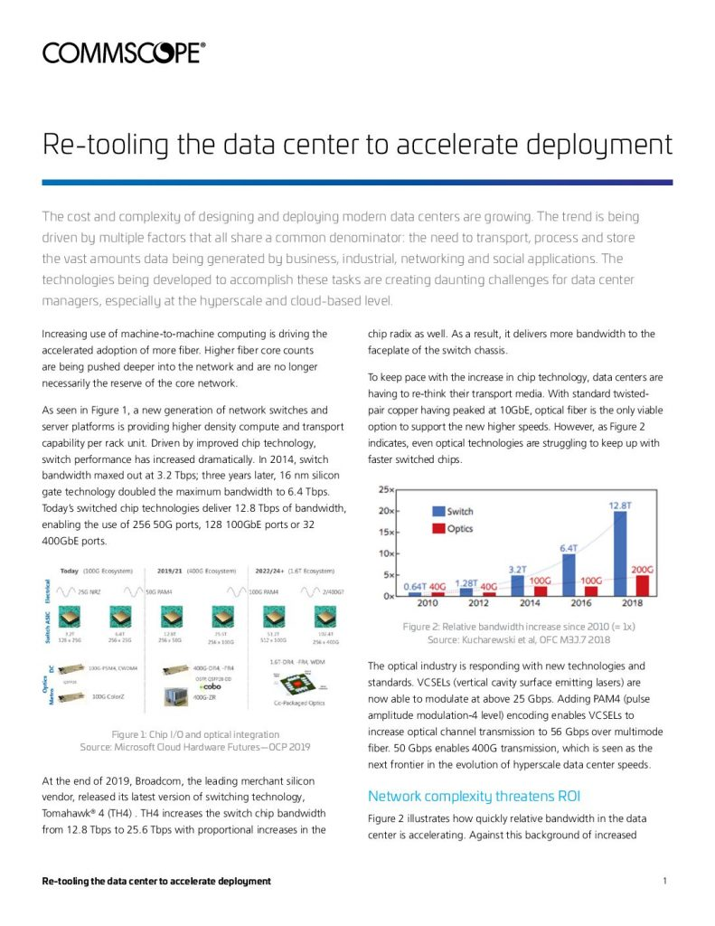 Re-tooling the data center to accelerate deployment