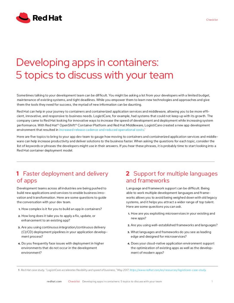 Developing Apps In Containers: Five Topics To Discuss With Your Team