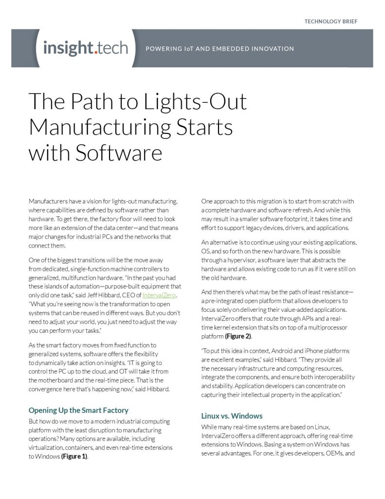 The Path to Lights-Out Manufacturing Starts with Software