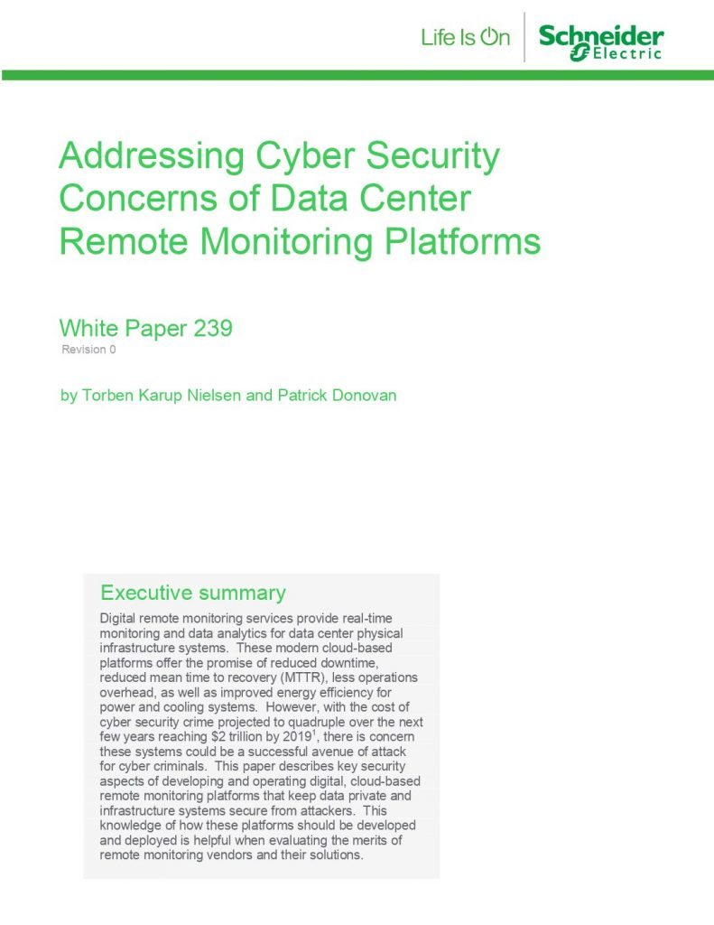Addressing Cyber Security Concerns of Data Center Remote Monitoring Platforms