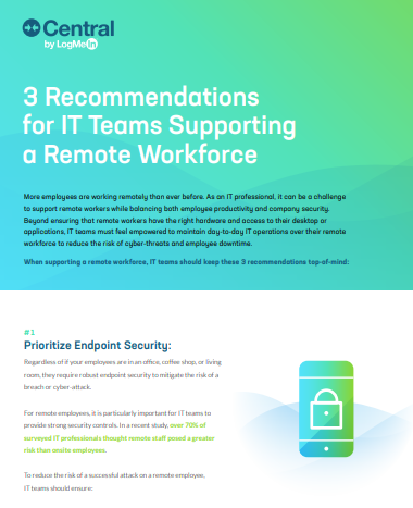 Infographic: 3 Recommendations for IT Teams to Support a Remote Workforce