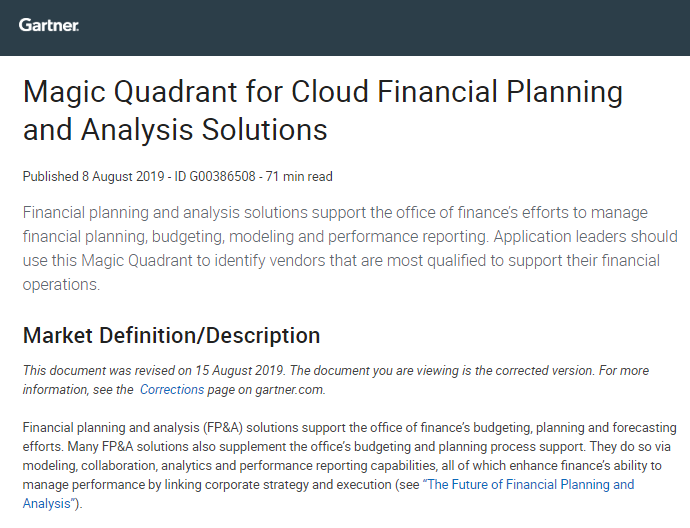 2019 Gartner Magic Quadrant for Cloud Planning and Analysis Solutions