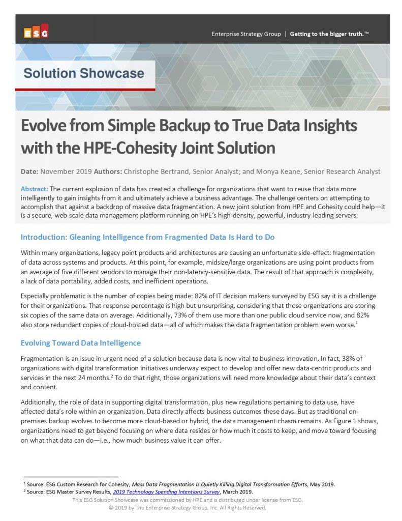 Evolve from Simple Backup to True Data Insights with the HPE-Cohesity Joint Solution