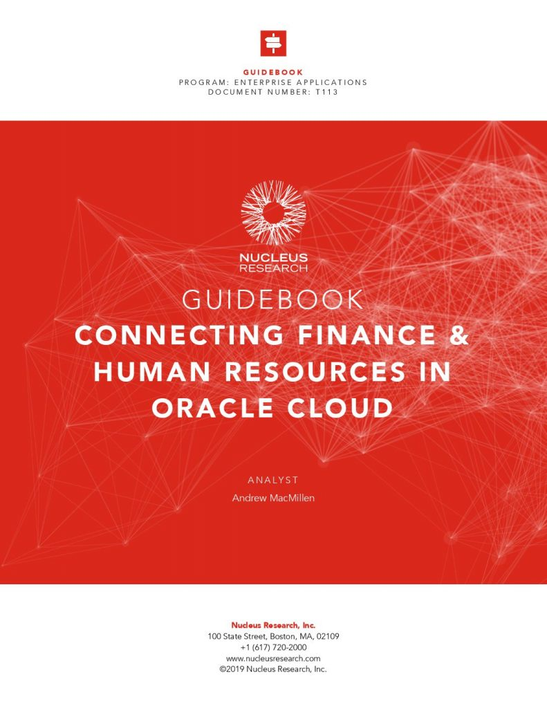 Nucleus Research: Connecting Finance  and  HR in OracleCloud