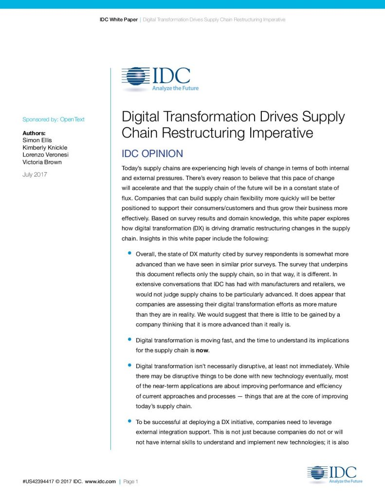 Digital Transformation Drives Supply Chain Restructuring Imperative