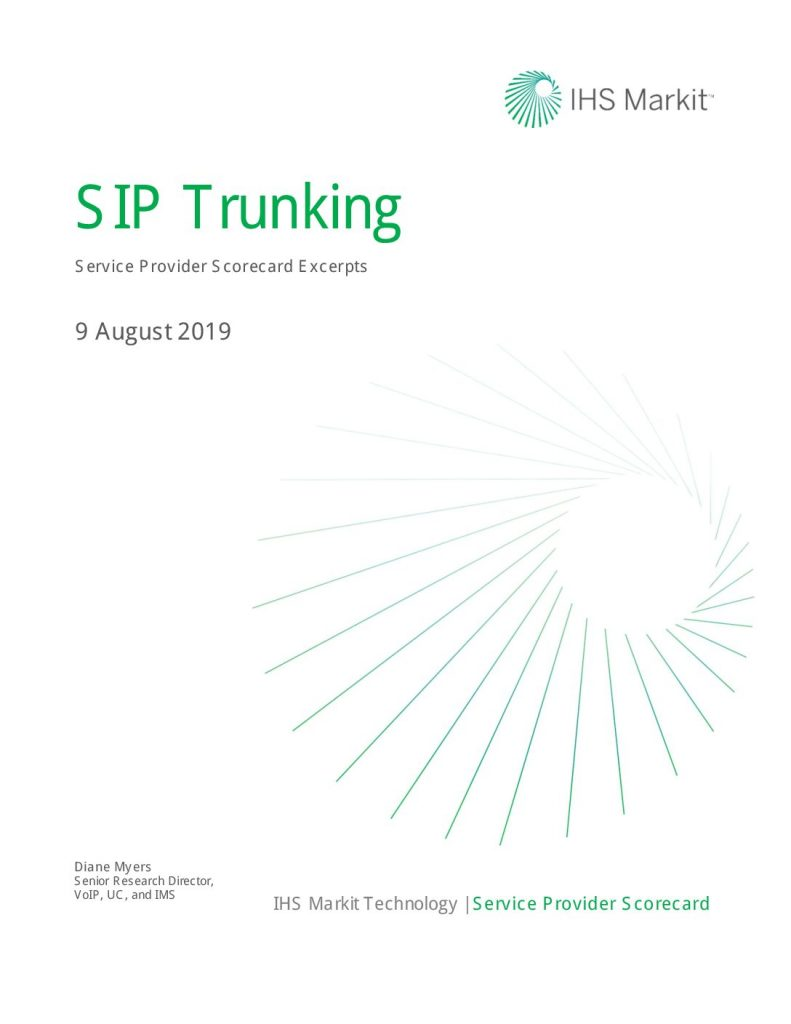 IHS Marketplace: CenturyLink #1 in the 2019 North American SIP Trunking Scorecard