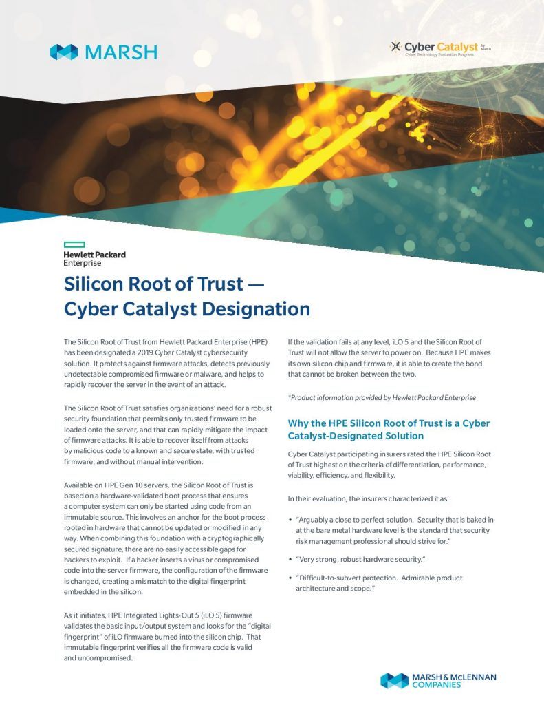 HPE Silicon Root of Trust Named a Cyber Catalyst
