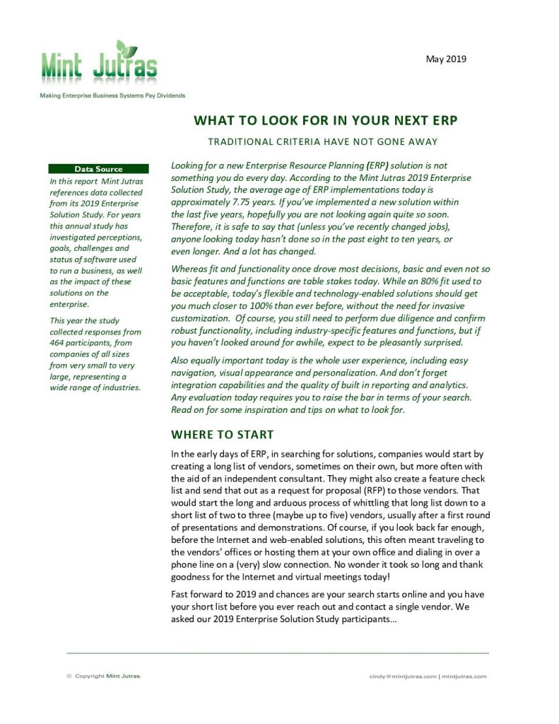 What to Look for in Your Next ERP: Traditional Criteria Have Not Gone Away