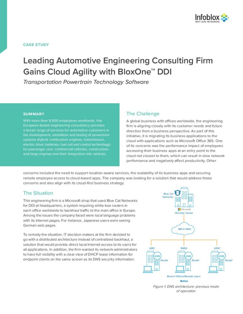 Leading Automotive Engineering Consulting Firm Gains Cloud Agility with BloxOne™ DDI