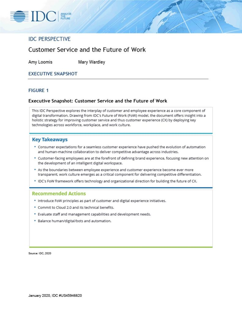 2020 IDC Perspective: Customer Service and the Future of Work