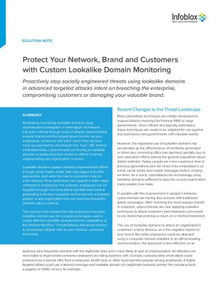 Protect Your Network, Brand and Customers with Custom Lookalike Domain Monitoring