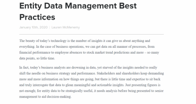 Entity Data Management Best Practices