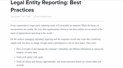 Legal Entity Reporting: Best Practices