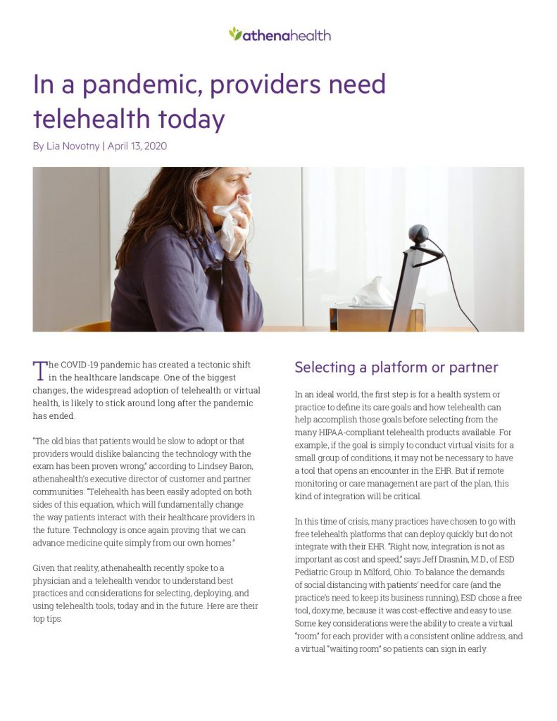 In A Pandemic, Providers Need Telehealth Today