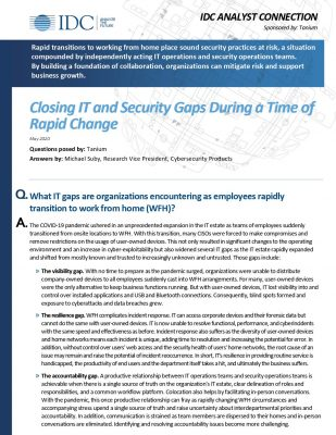 IDC: Closing IT and Security Gaps During Rapid Transition to WFH