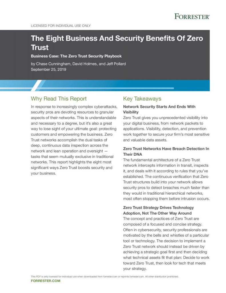 Forrester Research: The Eight Business and Security Benefits of Zero Trust