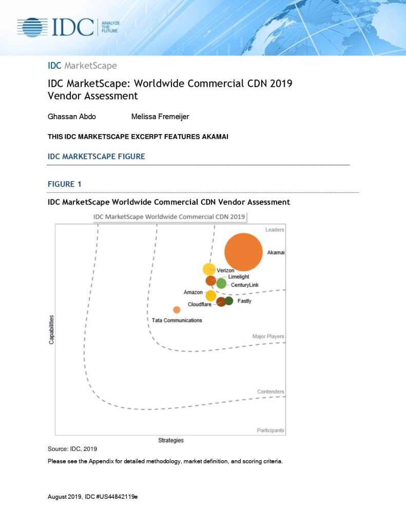 IDC MarketScape Worldwide Commercial CDN 2019 Vendor Assessment