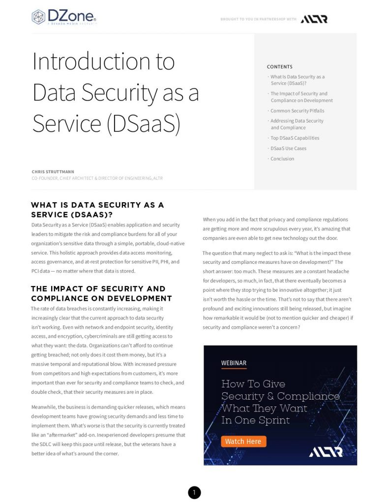Introduction to Data Security as a Service (DSaaS)