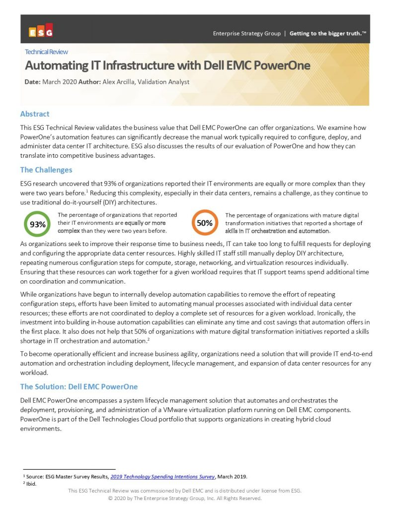 Automating IT Infrastructure with Dell EMC PowerOne Autonomous Infrastructure