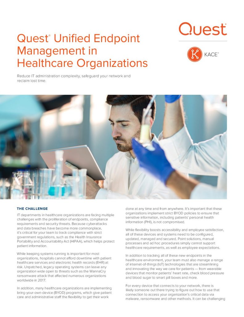 Quest Unified Endpoint Management in Healthcare Organizations