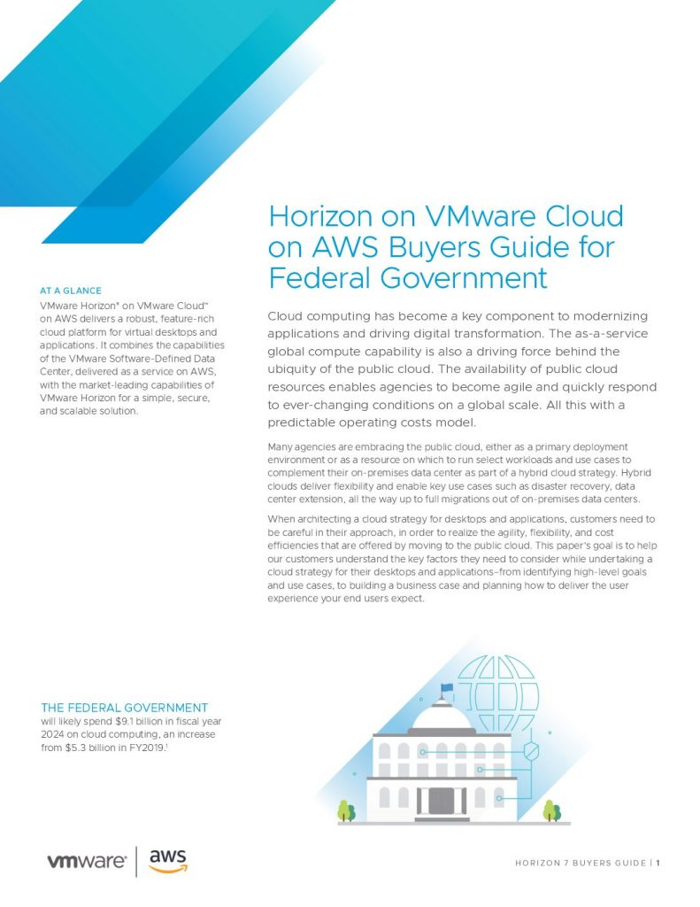 Horizon on VMware Cloud on AWS Buyers Guide for Federal Government