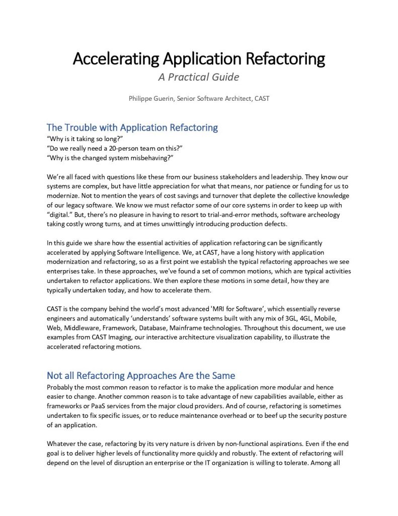 Accelerating Application Refactoring: A Practical Guide