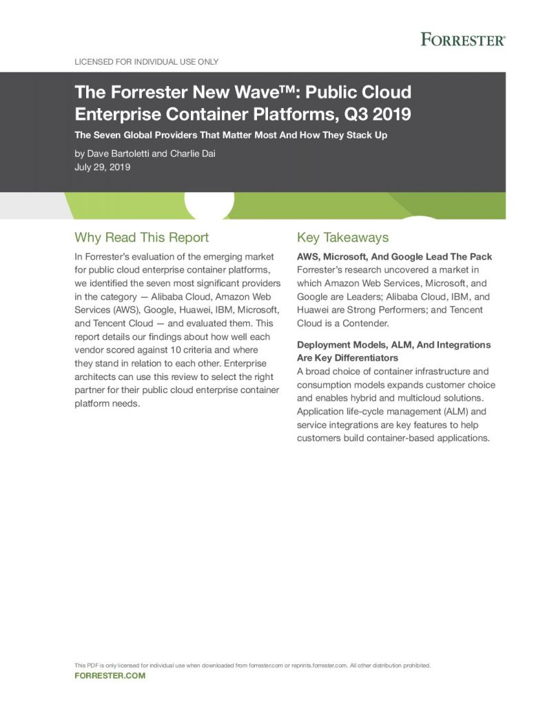 The Forrester New Wave™: Public Cloud Enterprise Container Platforms, Q3 2019