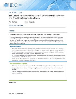 IDC PERSPECTIVE: The Cost of Downtime in Datacenter Environments: The Cause and Effective Measures to Alleviate