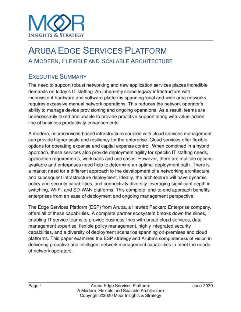 Moor Insights Whitepaper: Aruba's Modern Networking Architecture
