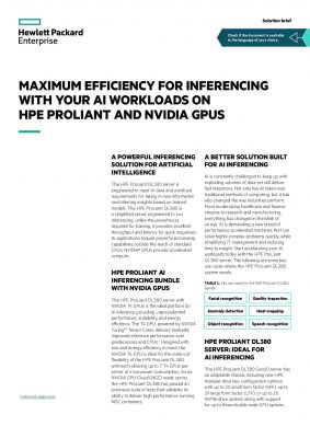 Maximum Efficiency For Inferencing with your AI Workloads on HPE Proliant and NVIDIA GPUS