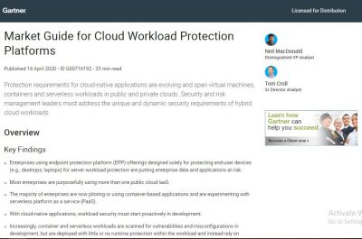 A Gartner report: 2020 Market Guide for Cloud Workload Protection Platforms