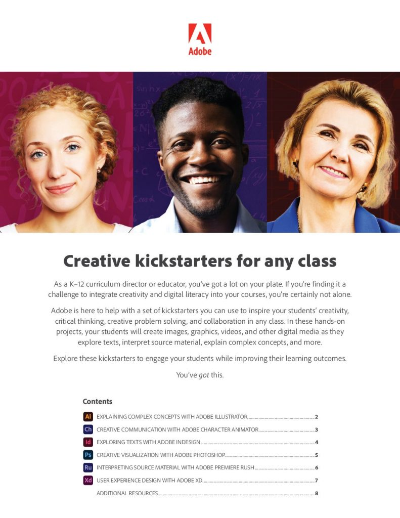Adobe Creative Kickstarters: quick, short activities for your students