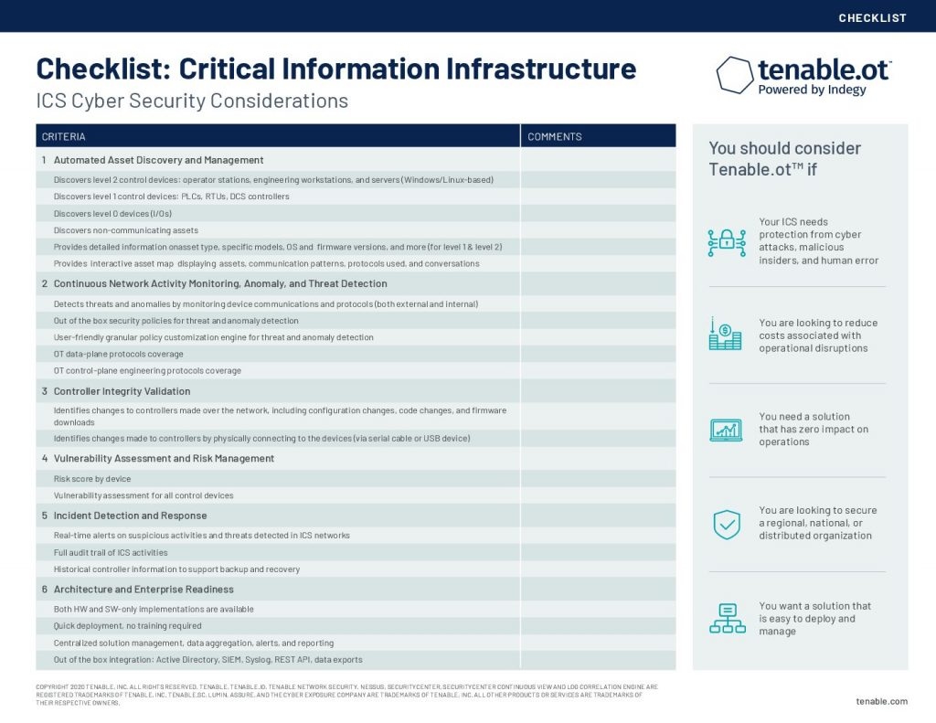 The ICS Cybersecurity Considerations Checklist