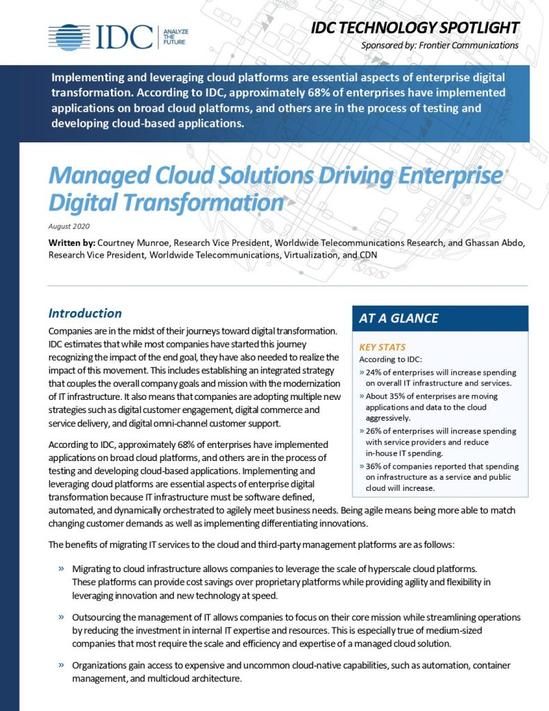Managed Cloud Solutions Driving Enterprise Digital Transformation