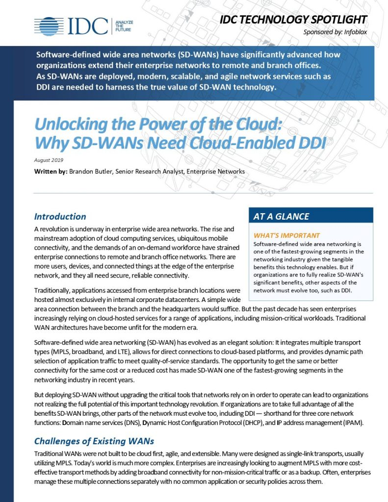 Unlocking the Power of the Cloud: Why SD-WANs Need Cloud-Enabled DDI